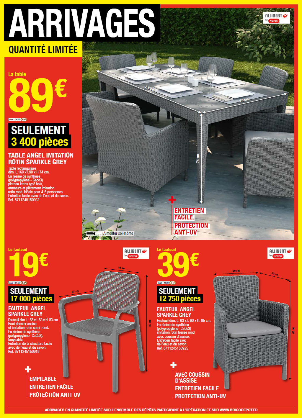table de jardin brico depot arrivage