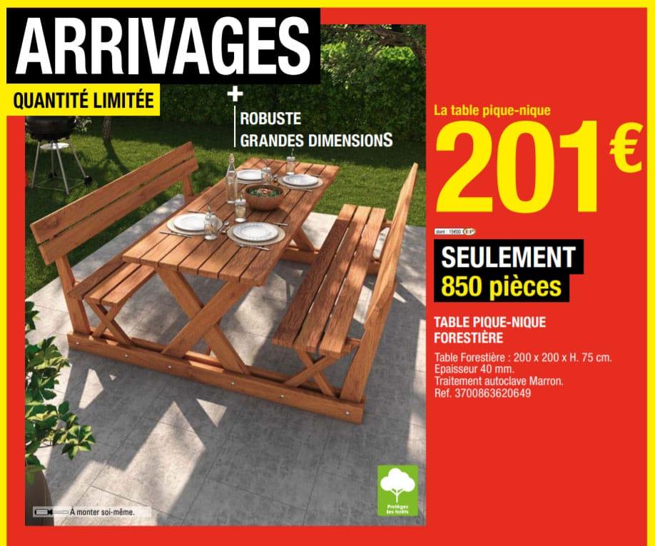 table de jardin en bois brico dépot